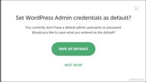 Set WordPress Admin credentials as default?