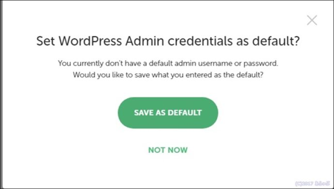 Set WordPress Admin credentials as default?